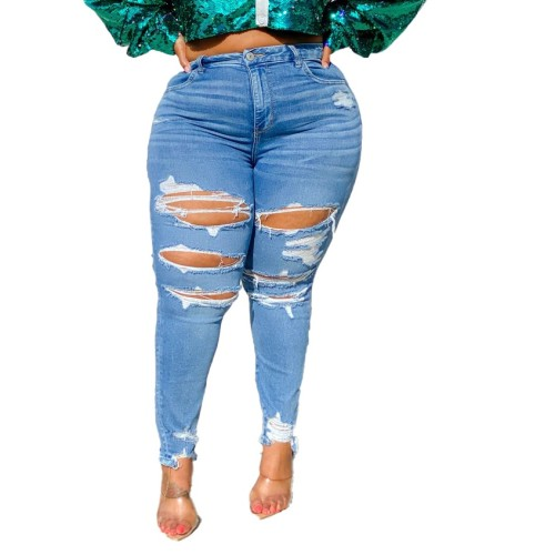 Plus Size Ripped Holes Stylish Blue Jeans