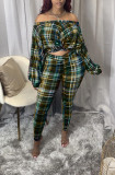 Off Shoulder Plaid Two Piece Pants Set