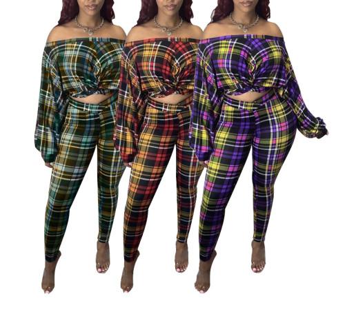 Off Shoulder Plaid Two Piece Pants Set