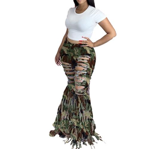 Plus Size Stylish Camo Print Ripped Tassel Flare Bottom Jeans
