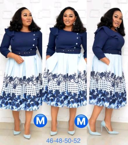 African 3/5 Sleeve Print Splicing Belted Skater Dress