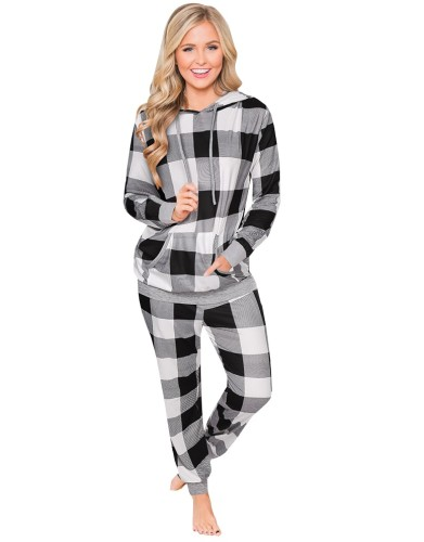 Christmas Print Two Piece Hooded Loungewear for Women