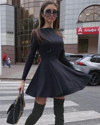 Solid Black Elegant Skater Dress