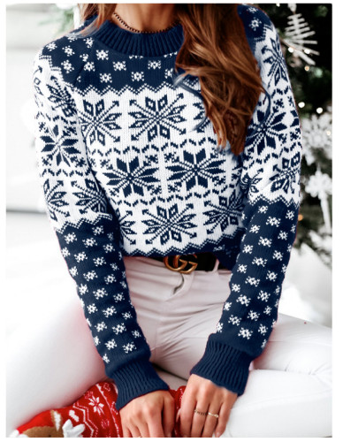 Christmas Print Pullover Sweater Knitted Top for Women
