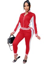 Trendy Contrast Fitted Zipper Tracksuit