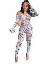 Printed Off Shoulder Bodysuit & Leggings Two Piece Set