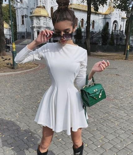 Solid White Elegant Skater Dress