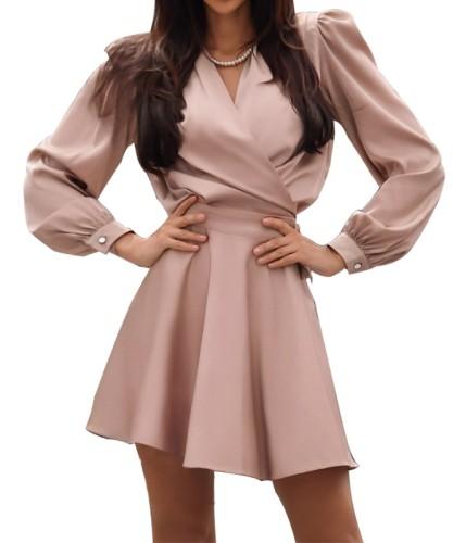 Solid Color Elegant Long Sleeve Wrap Skater Dress