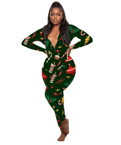 Christmas Print V-neck Onesie Pajama for Women