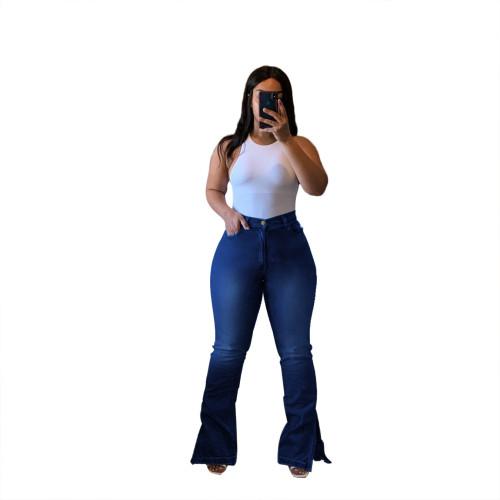 Plus Size High Waist Slit Bottom Blue Flare Jeans
