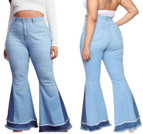 Plus Size High Waist Contrast Bell Bottom Jeans