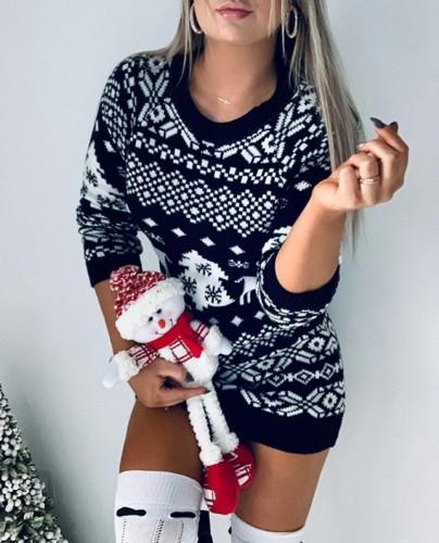 Christmas Print Long Sleeve Mini Sweater Dress