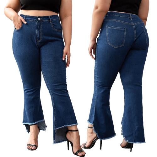 Plus Size High Waist Irregular Bell Bottom Jeans