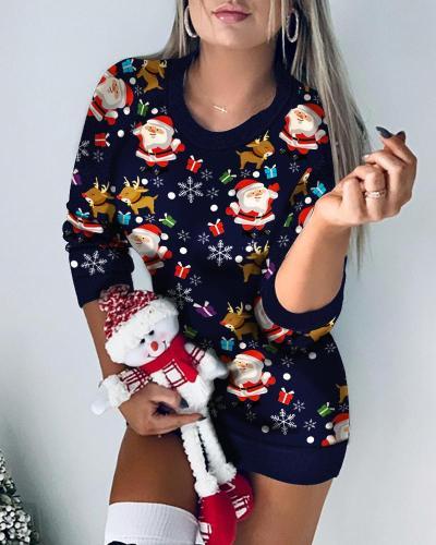 Christmas Print Mini T-Shirt Dress