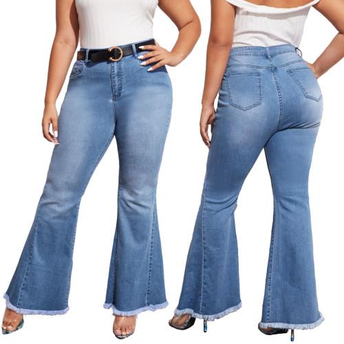 Plus Size High Waist Regular Bell Bottom Jeans