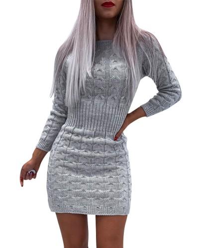 Winter Mock Neck Long Sleeve Mini Sweater Dress