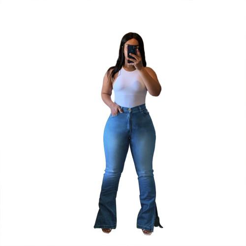 Plus Size High Waist Slit Bottom Light Blue Flare Jeans