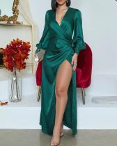 Elegant Green Wrap Maxi Evening Dress