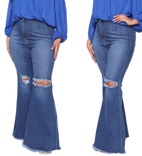 Plus Size High Waist Ripped Bell Bottom Jeans