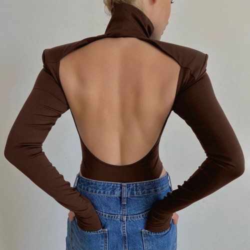 Solid Sexy Cutout Back High Neck Bodysuit
