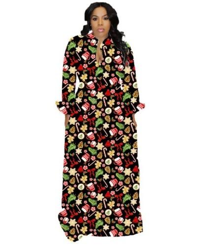 Christmas Print Tie Waist Maxi Dress