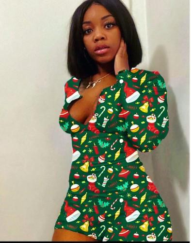 Christmas Print Rompers Loungewear
