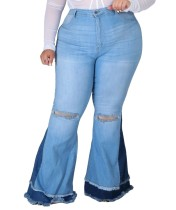 Plus Size Contrast Detail High Waist Ripped Flare Jeans