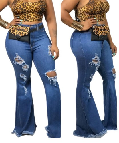 Plus Size Fashion High Waist Ripped Flare Jeans