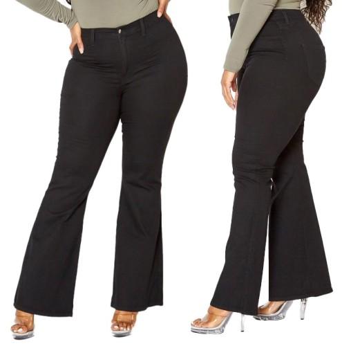 Plus Size Stylish High Waist Black Flare Jeans