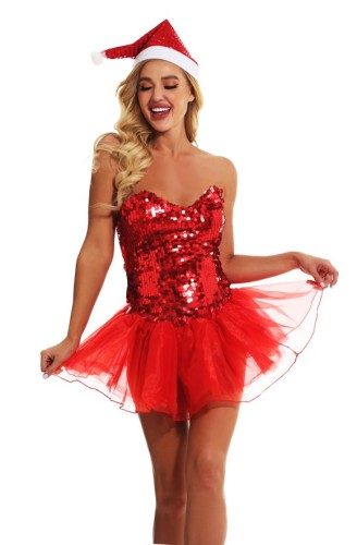 Christmas Sexy Sequin Party Short Dress and Hat Set