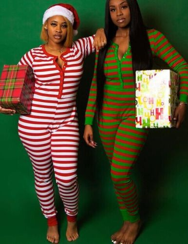 Xmas Striped Lounge Jumpsuit