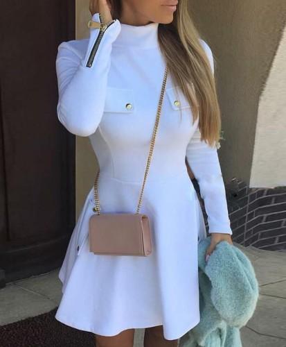 White Turtleneck Long Sleeve Zipper Skater Dress