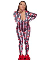 Lips Print Long Sleeve Sexy Slinky Jumpsuit