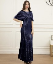Elegant All Over Sequin Short Sleeve Evening Dress