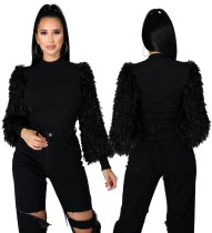 Winter Solid Mock Neck Top with Plush Sleeve