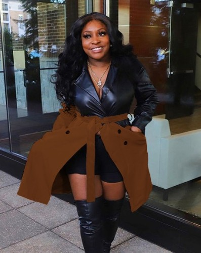 Black and Brown PU Leather Patchwork Coat