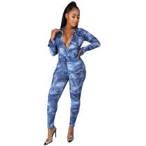 Fake Denim Print Bodysuit and Pants 2PCS Set