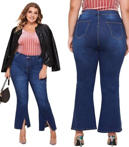 Plus Size Slit Bottom High Waist Blue Jeans