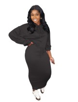 Pure Solid Loose Hoodie and Long Skirt Set