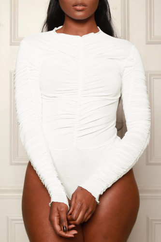 Solid Color Ruched Long Sleeve Bodysuit