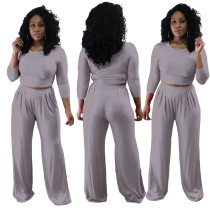 Leisure Plain Crop Top and Wide Leg Pants Set