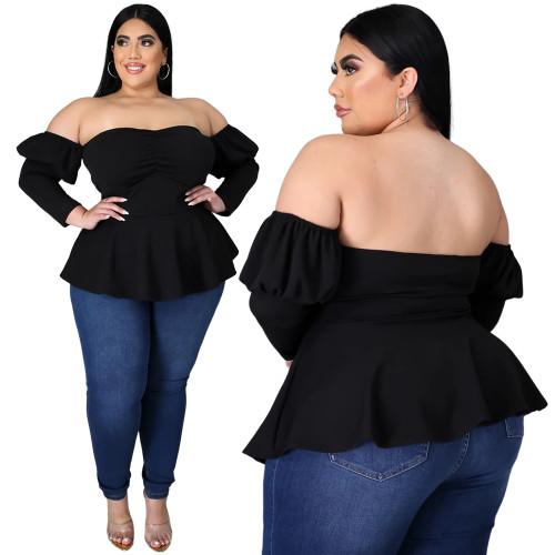 Plus Size Black Off Shoulder Peplum Top