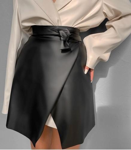 Black PU Leather Wrap Mini Skirt