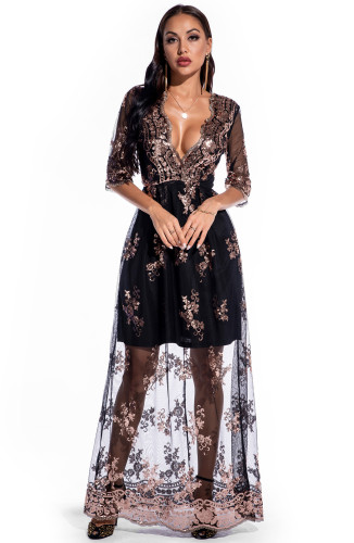 Floral Sequin Deep-V Long Evening Dress