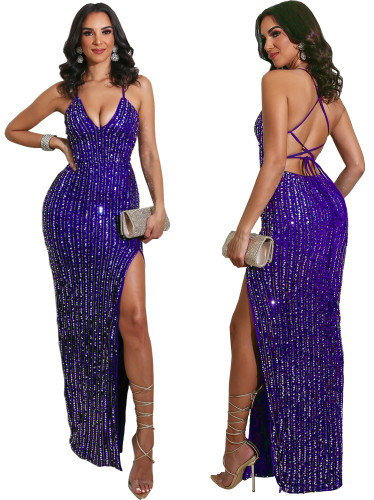 Sexy Strappy Back Side Slit Sequin Evening Dress