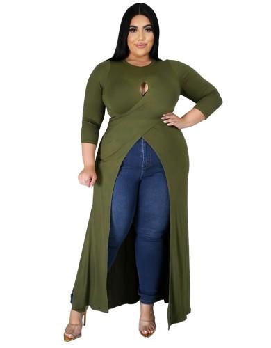Plus Size High Low Keyhole Wrap Dress Top