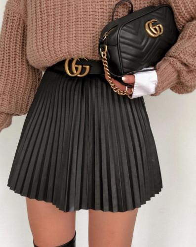 Black High Waist Pleated Short Skirt