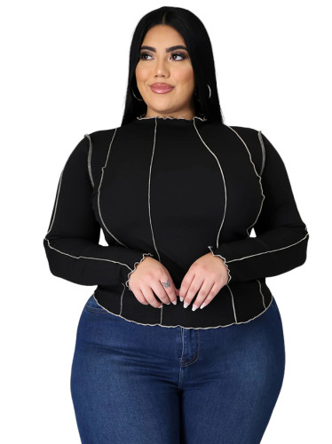 Plus Size Stripes Ribbed Basic Top