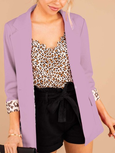 Office 3/4 Sleeve Blazer with Leopard Trim