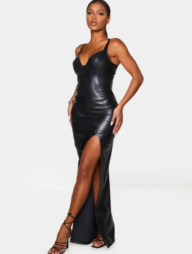 Solid PU Leather High Slit Maxi Dress